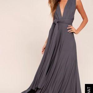 Lulu's Tricks of the Trade Maxi Dress - Dark Gray